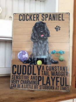Black Cocker Spaniel Metal Sign