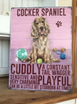 Golden Cocker Spaniel Metal Sign
