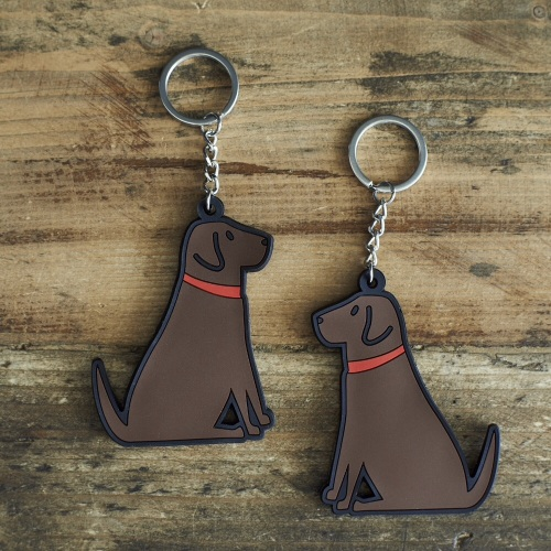 Chocolate Labrador Key Ring