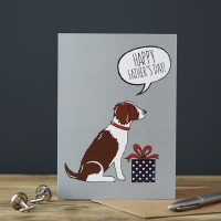 Liver and White Springer Spaniel Father's Day Card