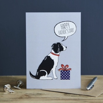 Black and White Springer Spaniel Father's Day Card