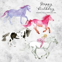 Happy Birthday Colourful Horses Card