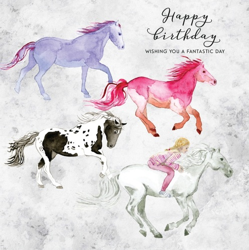 Happy Birthday Colourful Horses Card