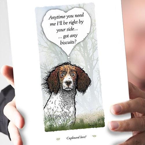 Cupboard Love Liver & White Springer Spaniel Card