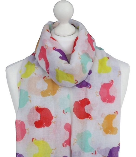 Hen Silhouette Print Scarf