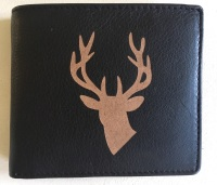 Stag's Head Engraved Black Leather Wallet