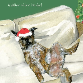 Brie Border Terrier Christmas Card