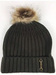 Knitted Snaffle Bobble Hat in Green