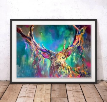 Vibrant Woodland Stag Print
