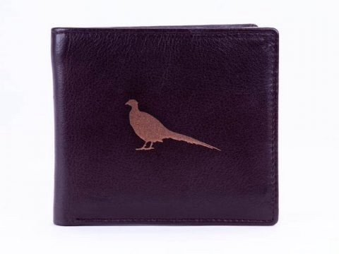 Pheasant  Engraved Brown Leather Wallet