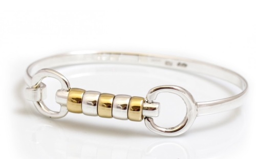 Sterling Silver and 18ct Gold Plated Cherry Roller Bangle