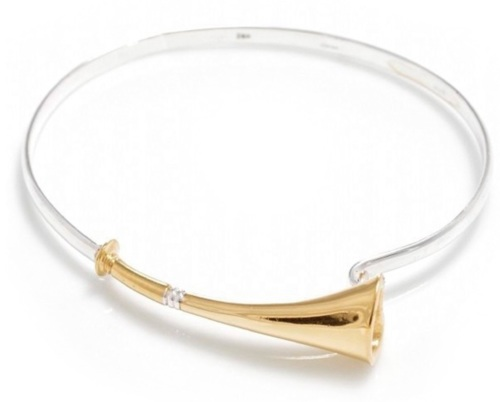 Sterling Silver & 18ct Gold Plate Hunting Horn Bangle