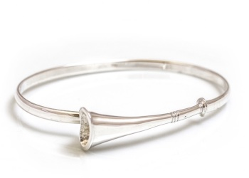 Sterling Silver Hunting Horn Bangle