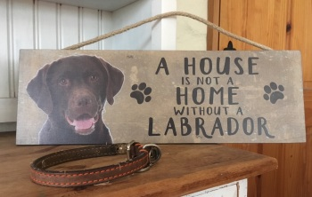 A House is not a Home Chocolate Labrador Wooden Hanging Sign