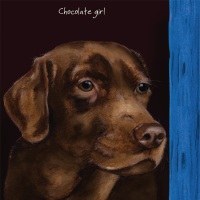 Chocolate Girl Labrador Card