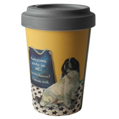 'Awesome' Spaniel Bamboo Travel Mug