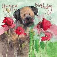 Border Terrier in Poppies Birthday Card