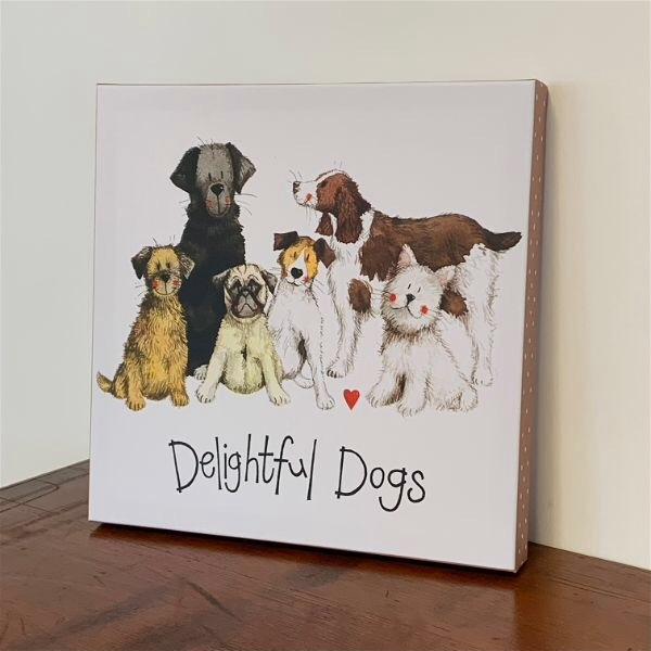 Delightful Dogs Art Canvas