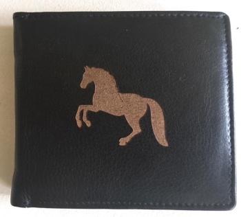 Horse Engraved Black Leather Wallet