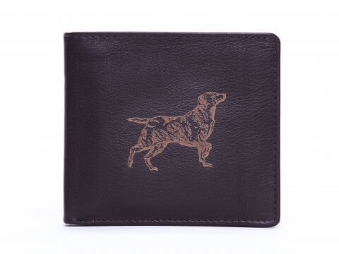 Labrador Engraved Brown Leather Wallet