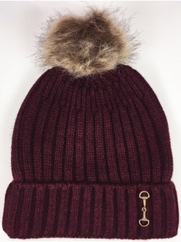Knitted Snaffle Bobble Hat in Wine