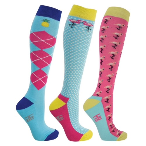 Pack of Three Flamingo Riding Long Socks