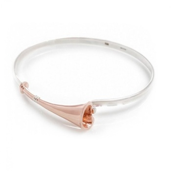 Sterling Silver & 18ct Rose Gold Plate Hunting Horn Bangle