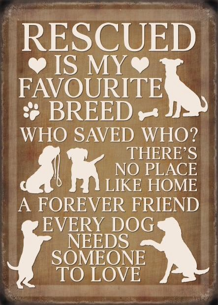 Rescued Dogs Metal Sign