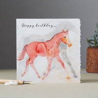 Happy Birthday Foal running with Mare Card