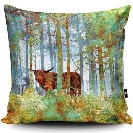 Highland Cow in the Woods Cushion