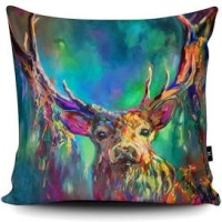 Vibrant Woodland Stag Cushion