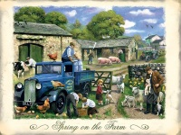 British Farmers - Blue Flat Wagon Metal Sign