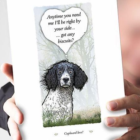 Cupboard Love Black & White Springer Spaniel Card