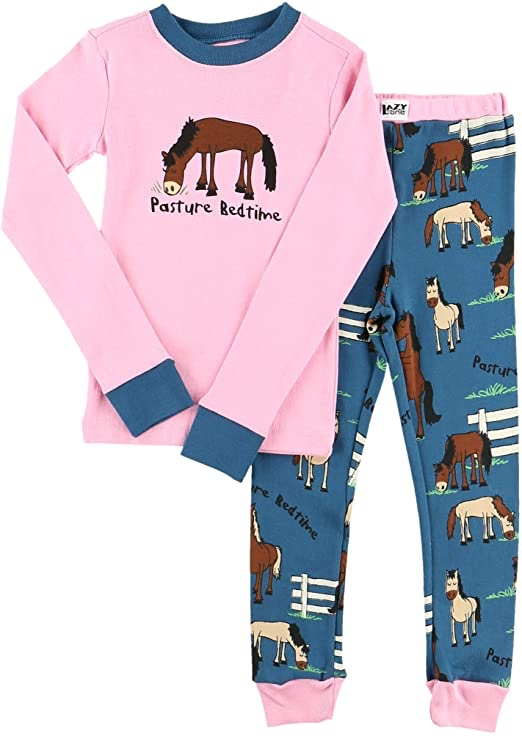 LazyOne Girls Pasture Bedtime Kids PJ Set Long Sleeve