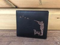 Shooting Scene Engraved Black Leather Wallet