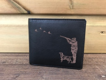 Shooting Scene Engraved Black Leather Wallet