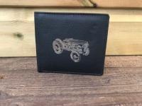 Vintage Tractor Engraved Black Leather Wallet