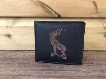 Stag Engraved Black Leather Wallet