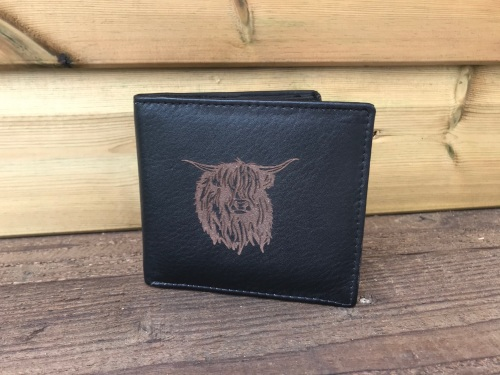 Highland Cow Engraved Black Leather Wallet