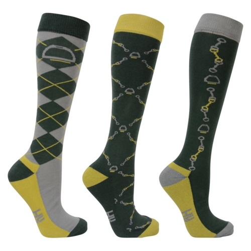 Pack of Three Elegant Stirrup and Bit Long Socks