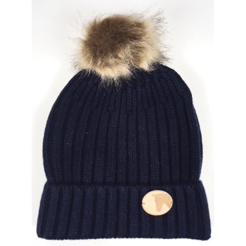 Knitted Horse Coin Bobble Hat in Navy