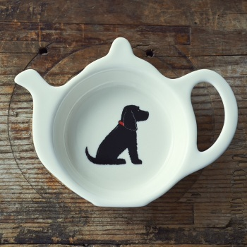 Gift Boxed Black Cocker Spaniel Teabag Dish
