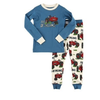 LazyOne Field of Dreams Tractor Kids PJ Set Long Sleeve