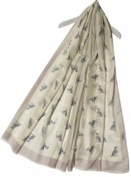 Dalmatian Beige Frayed Scarf
