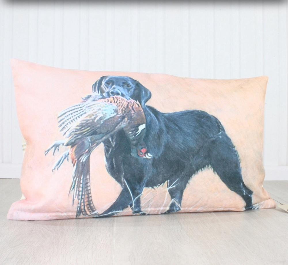 Labrador with Pheasant Cushion