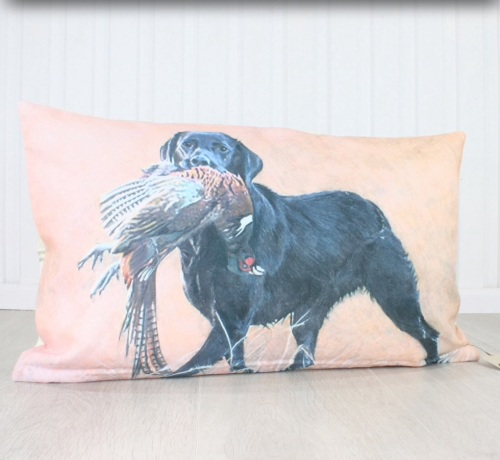 Labrador with Pheasant Cushion