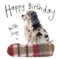 Spaniel in a Tweed Basket Happy Birthday Card