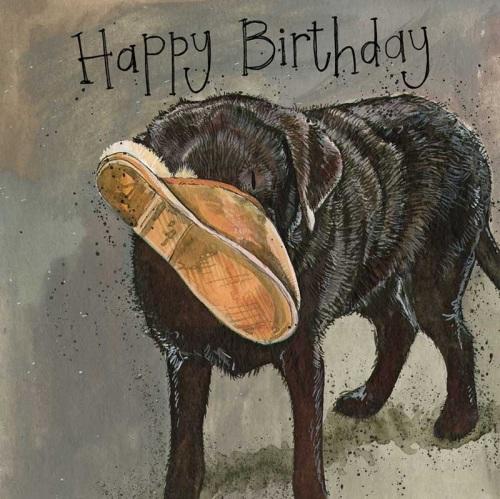 Slipper Labrador Birthday Card