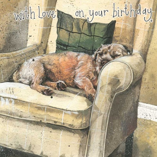 Archie Border Terrier Birthday Card