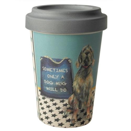 Dog Hug Vizsla Bamboo Travel Mug